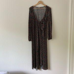 ASOS Maxi Long Sleeve Floral Wrap Dress